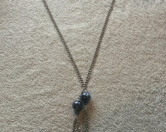 Blue and silver chain tassel necklace