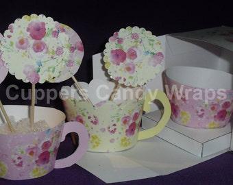 Teacup Cupcake Wrapper Wildflower Series