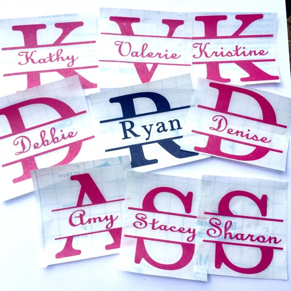 Personalized cup decal split letter name sticker for most for Letter decals for cups