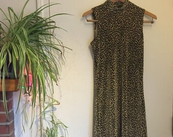 90's velvet cheetah print dress