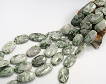 Natural Peace Jade Oval Beads 16 inch Strand