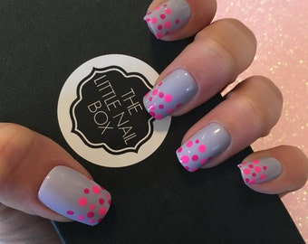 Hand painted dotty square false stick on/ express/ press on/ glue on/ fake nails