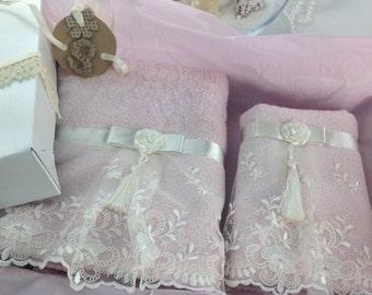In-Stock! Decorative Handmade Towel 2-pc Gift Set With Box