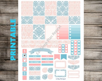 PRINTABLE for Erin Condren - Pink and Blue Damask Theme Weekly Planner Sticker Kit for Vertical Layout of Life Planner