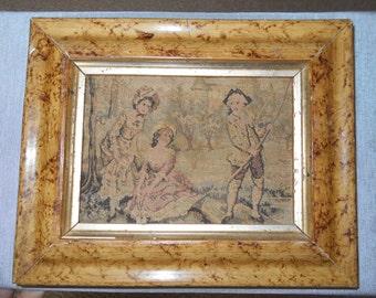 Vintage framed needlepoint tapestry