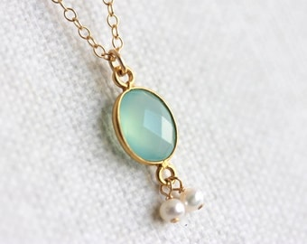 Aqua Chalcedony Bezel Necklace, Gold Filled Chain, Tiny Freshwater Pearls, Boho Chic Jewelry