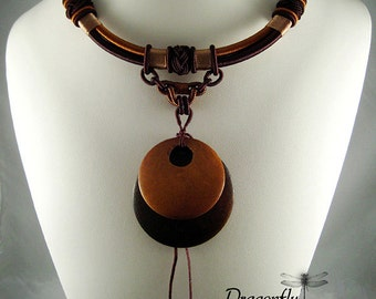 Large Wooden Disk Pendant Tribal Style Necklace