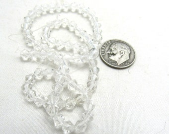1 Strand Faceted Glass Bicone Beads 4mm Clear (B75b10/96j2)