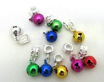 10 Assorted Colors Euro Style Jingle Bell Dangle Charms (B111a)