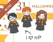 Harry Potter Planner stickers, Halloween planner stickers, Ron, Hermione, Hogwarts, witches, wizards, wand, gryffindor, 36 stickers, MINI