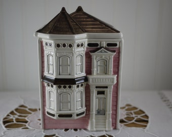 """Vintage Otagiri Victorian House Canister Pink 7"""" Tall with Lid"""