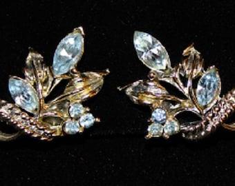 Vintage; Aquamarine; March Birthstone; Light Blue Swarovski Crystal; Silver Plated; Clip Earrings; 313034