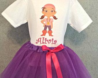 Izzy Jake Neverland Pirates Tutu Outfit, Birthday Tutu Set, Izzy Shirt and Tutu, Neverland Pirate Tutu, Purple Tutu, Birthday Tutu Outfit