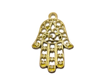 2 pcs Raw Brass Hamsa Charm | Hamsa Pendant, Gold Hamsa Pendant, Hamsa Jewelry, Hand of Fatima Charms, Gold Hamsa Hand, Small Hamsa Charms