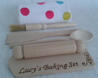 Personalised Wooden Baking set