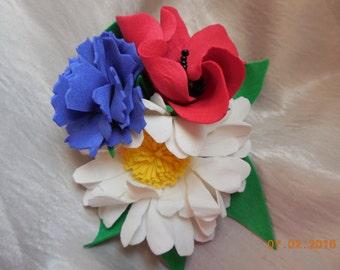 brooch, meadow flowers, poppies, daisies, cornflowers