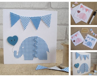 New Baby Card, Christening Card, Baptism Card, First Birthday Card, New Baby Boy / New Baby Girl Gingham Elephant Greeting Card