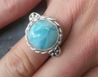 Larimar fine silver ring size 7