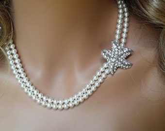 Starfish Necklace with Double Strands of Swarovski Pearls Starfish Pearl Necklace
