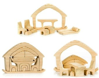 Jigsaw puzzle Wooden house with furniture
