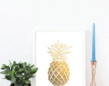 Pineapple,Tropical fruit, Gold Foil Print, A4, Gift, Illustration Art Print