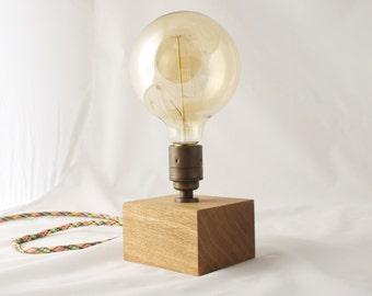 Oak Edison lamp