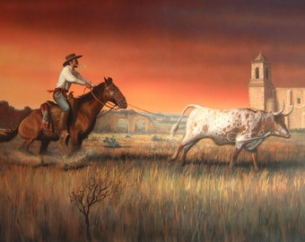 art on canvas, Vaquero, Cowboy, Longhorn, Texas Landscape, Spanish Missions, Texas art, Western art, Cowboys, Longhorns, Cattle, Missions