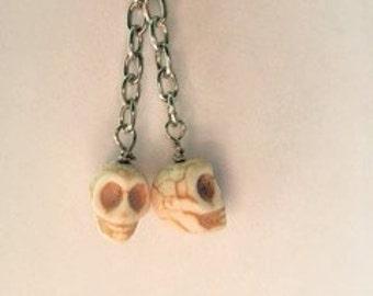 Skull Earrings/ Dangle Earrings/ White Skulls/ Women's Earrings
