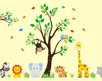 "Wall Decals Nursery - Baby Boy Nursery - Baby Girl Nursery - Kids Wall Decor - Safari Animal Decals - Large Animal Stickers - 83"" x 156"""