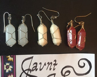 FREE SHIPPING Wire Wrapped Crystal Earrings