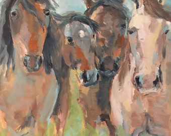 Horse Painting, Western Art, Mustang Abstract