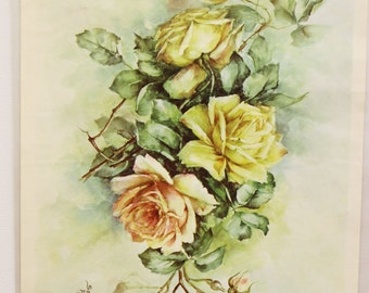 Decoupage Rose Prints 6 Available Victorian Rose Prints Decoupage Print Litho Prints Shabby Chic Decor Very Good Vintage Condition FREE SHIP