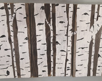 Rustic Birch Trees Pallet Wood Painting