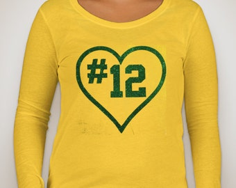 Green Bay Packers Aaron Rodgers number 12 Long Sleeve Glitter