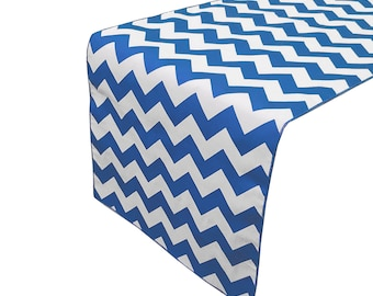 Zen Creative Designs Premium Cotton Table Top Runner Zig-Zag Chevron Royal Blue