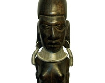 Vintage African Figurine Hand Carved Black Wood Tribal Silver Necklace Nude Woman Mask