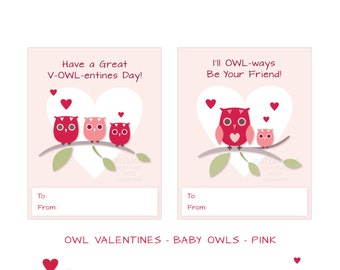 Printable - Classroom Valentines - Valentine Owls - Baby Owls