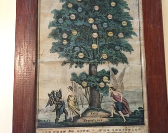 Antique Early N. Currier Colored Lithograph, Tree of Life. The Christian