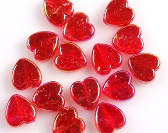Red Heart Beads, Acrylic Beads, Heart Beads, Childrens Beads, 9mm Heart Beads, 9mm Beads, Love Beads, Red AB Beads, AB Beads,