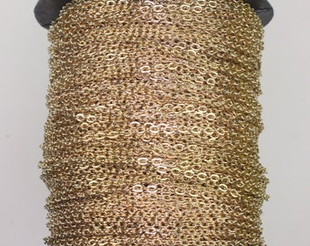 300feet Champagne Gold Plated Chain - 2x3mm Unsoldered Link, Flat Cable chain, Chain by the foot, Chain bulk chain from USA