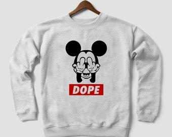 """Mickey Hands """"Dope"""" Street Art Graffiti, Hoodie Sweatshirt, Cannabis, Marijuana"""