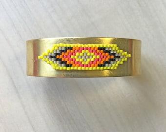 Cufflinks brass fluorescent yellow weaving
