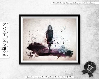 Harry Potter inspired Hermione Granger watercolour / watercolor abstract effect print - 3 for 2