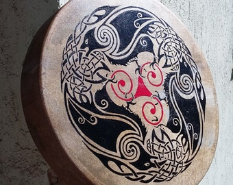 "Shaman drum with celtic crow and triskelion painted by hand (35cm, 14"")"