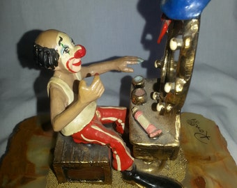 Ron Lee Clown at Make up Mirror Hat, Red nose Big feet 24K gold accents