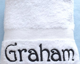 Personalised White Hand Towel, Luxury Egyptian towels 600 gsm