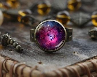 Purple Nebula ring, Violet Nebula  ring, Space ring, Galaxy Jewelry, Nebula ring, antique brass ring, Violet ring, Purple ring