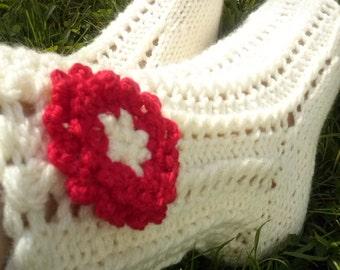 Flower socks,Knit Socks, Knit Short Leg Warmers, Ankle Socks, Ankle Warmers, Handmade Socks with Flowe
