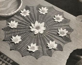 Vintage Crochet Pattern Water Lily Doily Mat Coats Mercer Crochet 20 PDF Instant Download