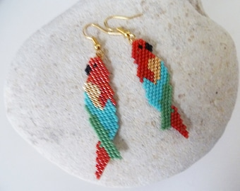 Weaved earings  train parrot